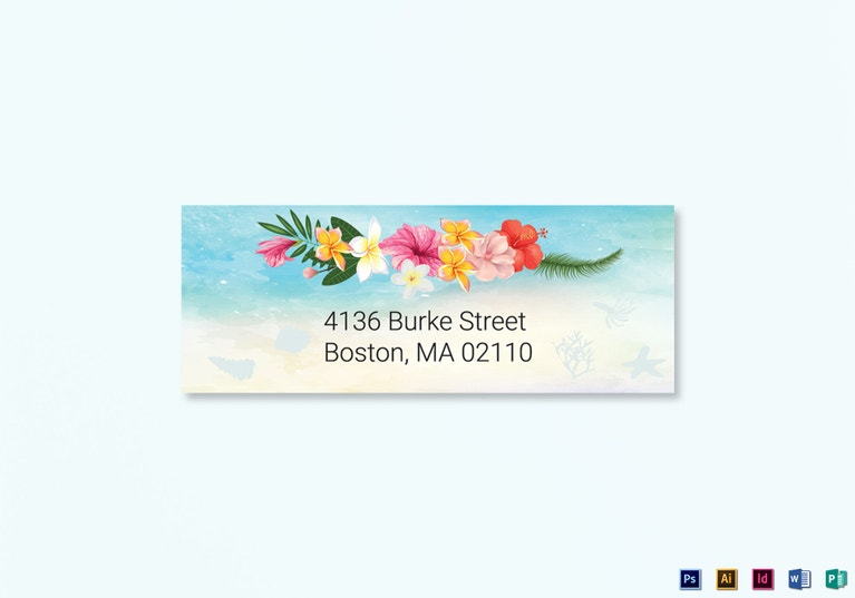 cartoon-design-beach-wedding-address-labels-card-template