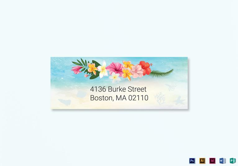 cartoon design beach wedding address labels card template
