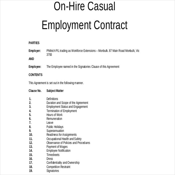 casual cleaning employment contract