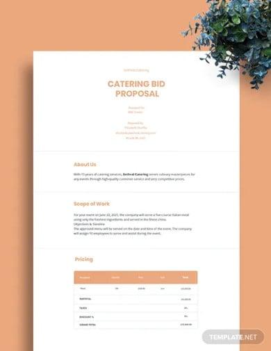 catering bid proposal template