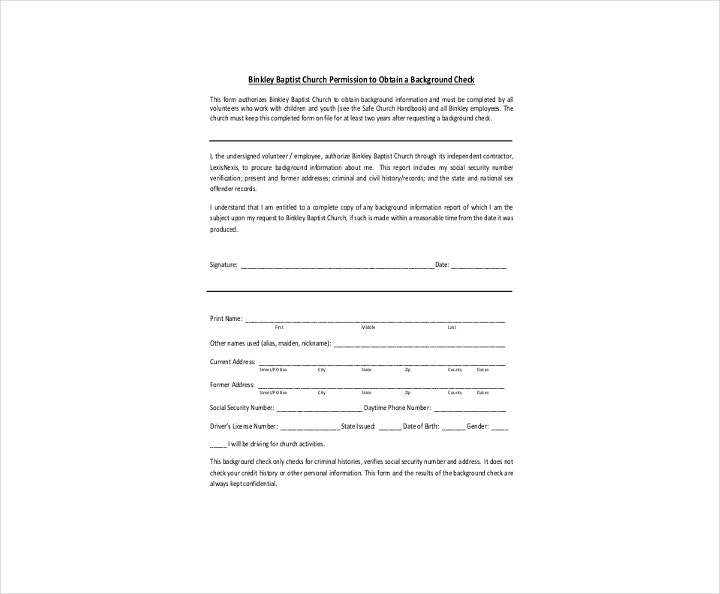 Church Background Check Authorization Form