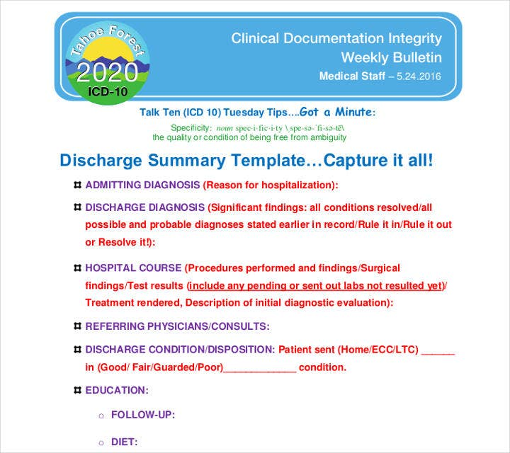 Clinical Discharge Summary Template