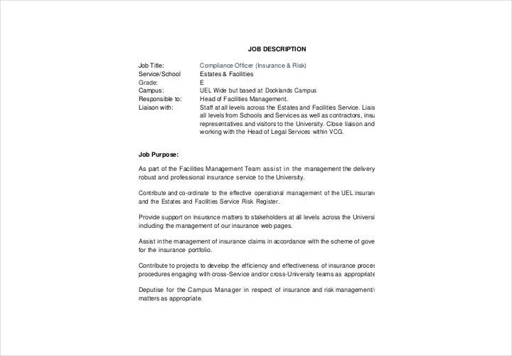 11 job description forms free pdf doc format download - Insurance compliance officer job description ...