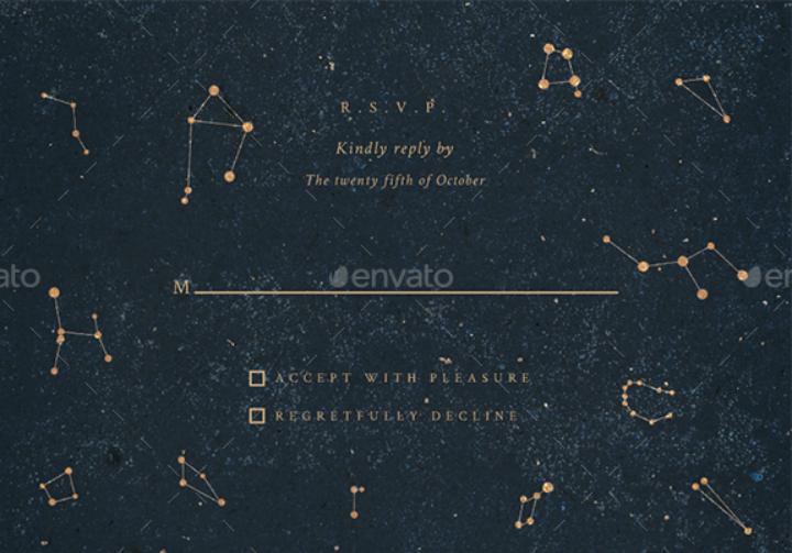 constellations wedding rsvp template