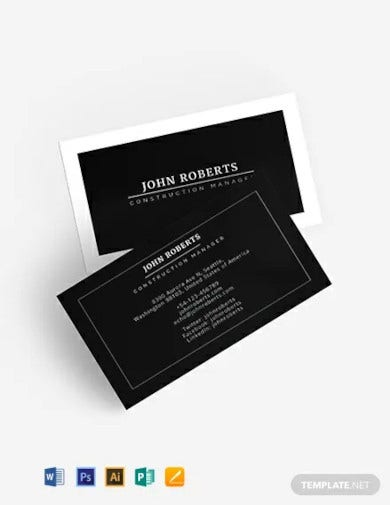 construction manager business card template1