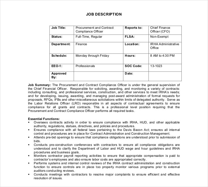 Contract Compliance Officer Job Description