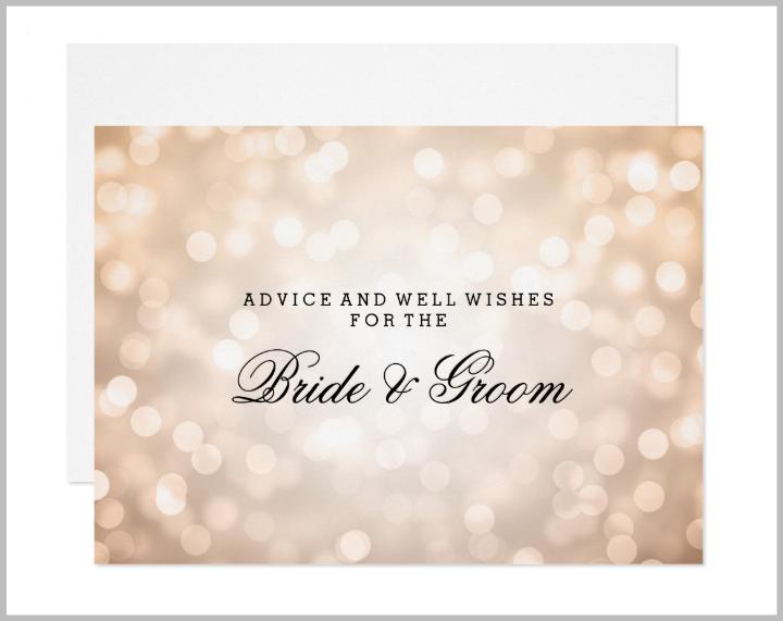 copper-glitter-lights-wedding-advice-card