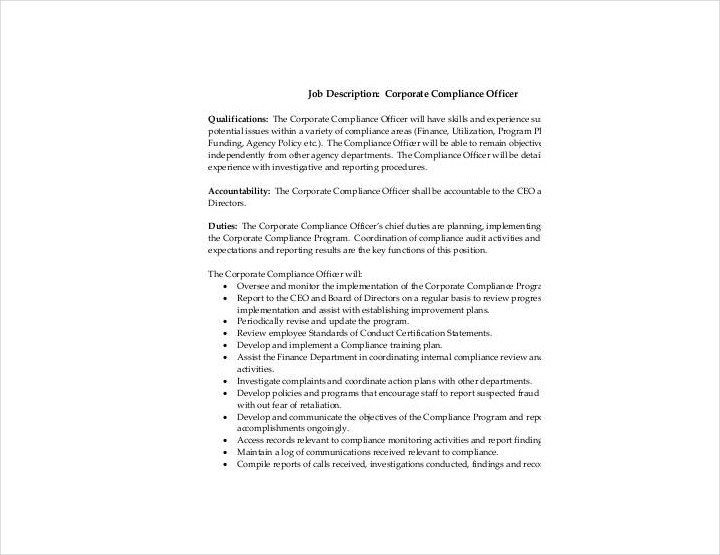 Corporate Compliance Officer Job Description