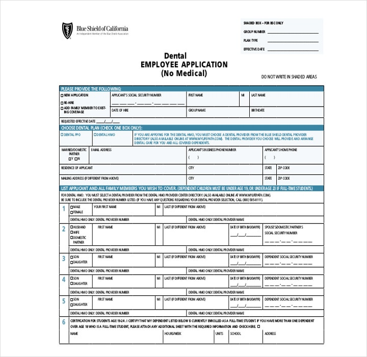 Dental Employee Application Form in PDF