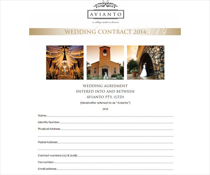 Editable Christian Wedding Service Contract