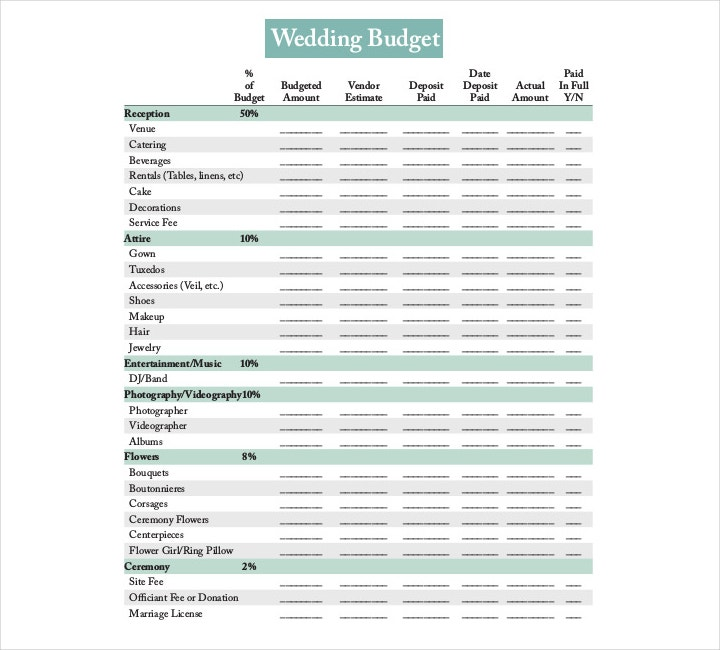 9+ Wedding Budget Worksheet Templates - PDF, DOC | Free ...