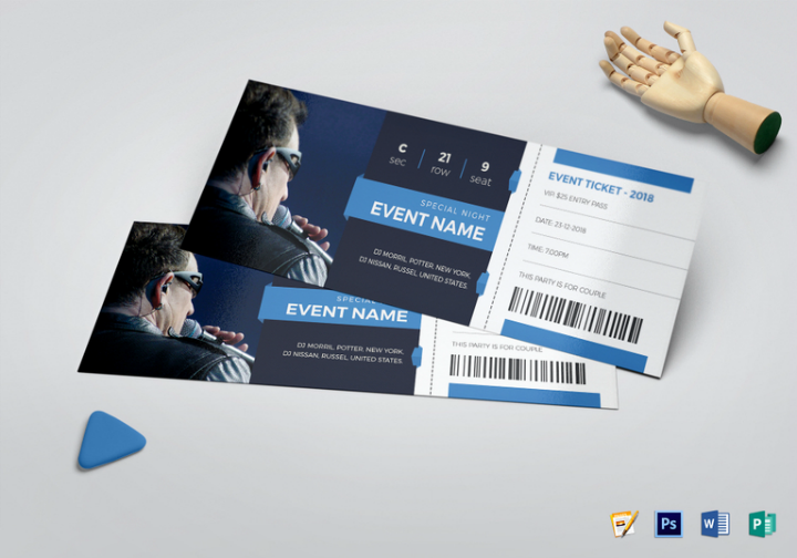 elegant event ticket template psd