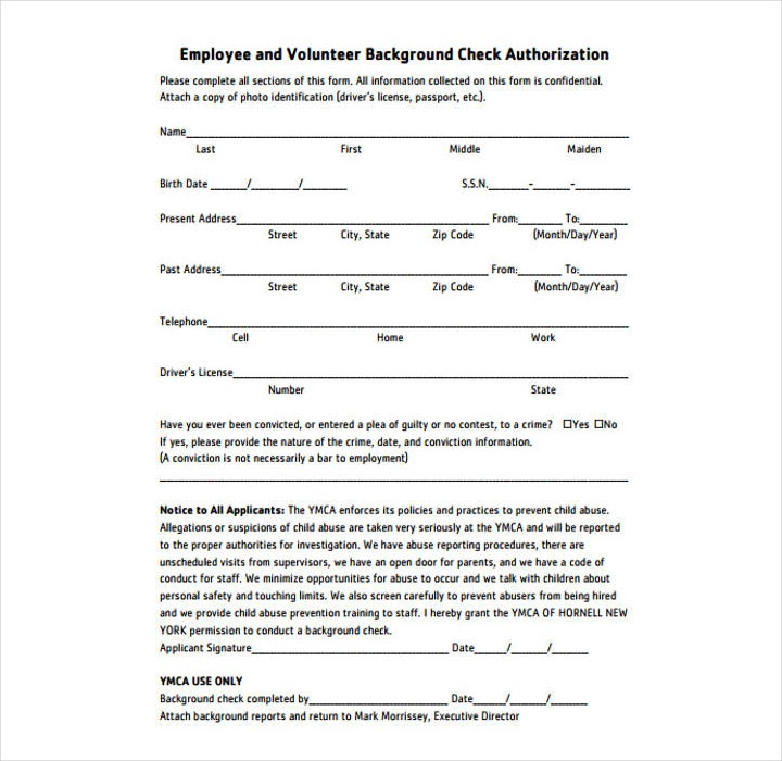Employment Background Check Forms. employer criminal ...