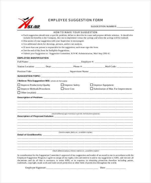 9 employee suggestion forms templates pdf word free