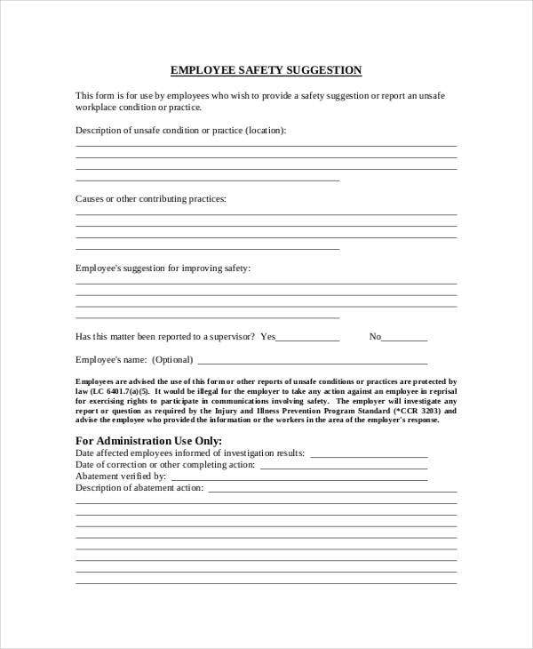 Employee Safety Suggestion Form