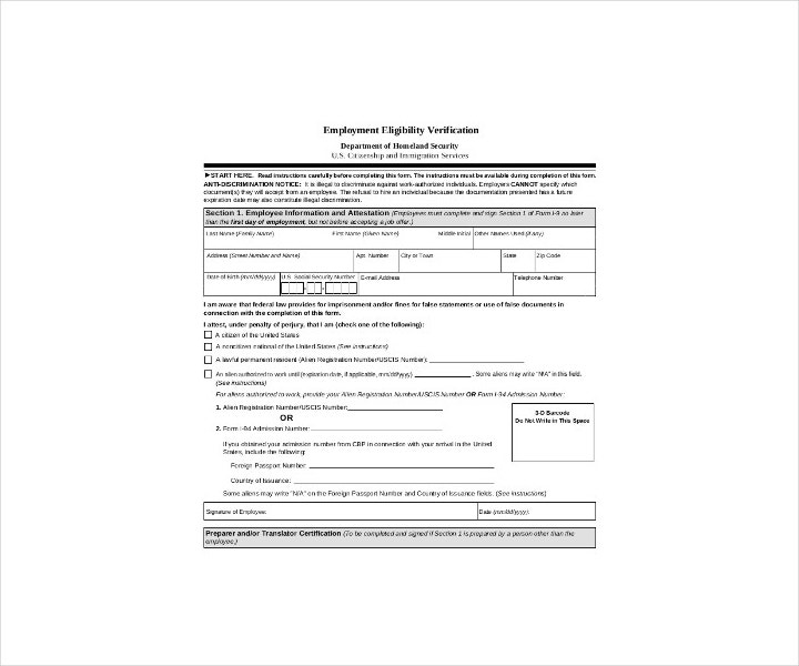 Employment Eligibility Verification Form