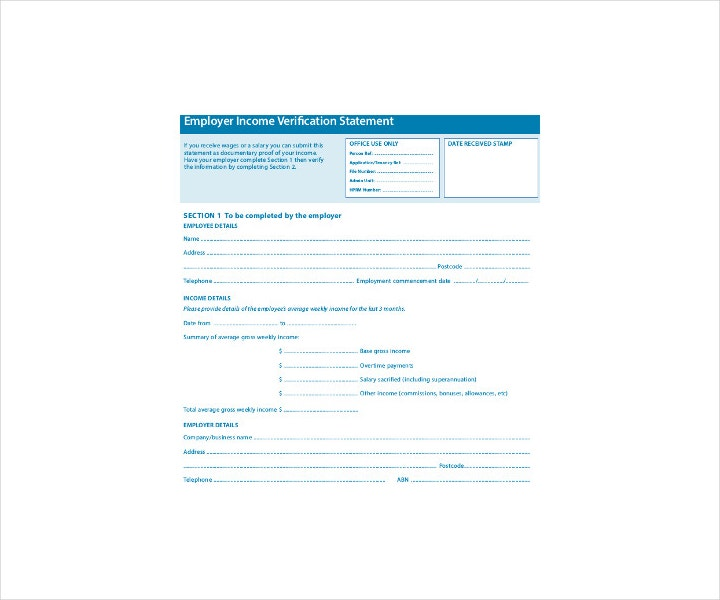 Employment Verification Forms  Free Pdf Doc Format Download