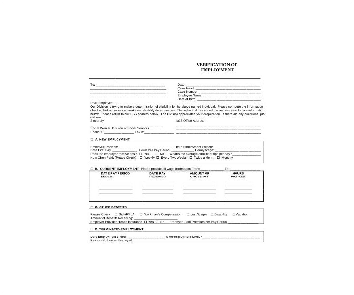 Employment Verification Form for Social Service