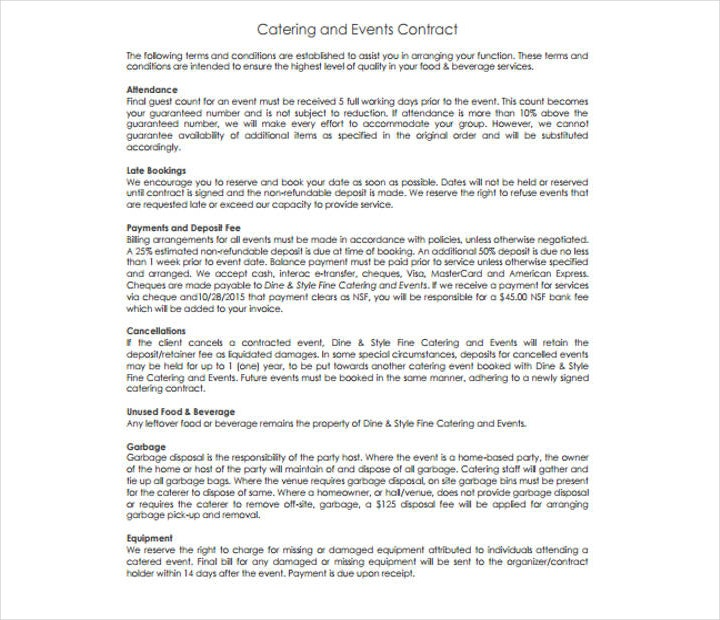 Contract Food Service Food Service Contract Example Contract Food