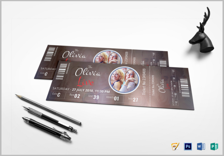 event show time ticket template psd