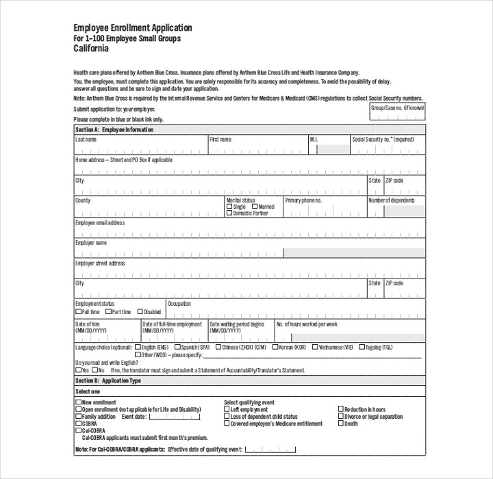 Example of Employee Enrollment Application Form
