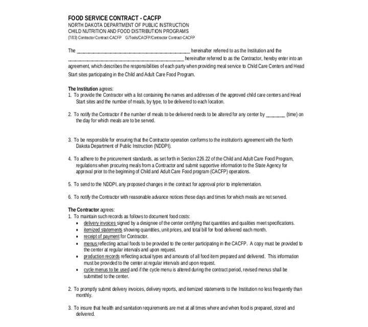 Example of Food Service Contract Form