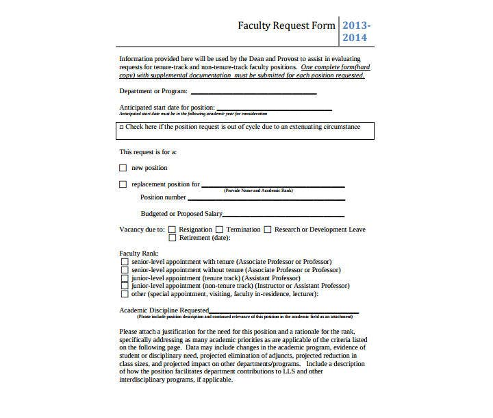 Faculty Position Request Form
