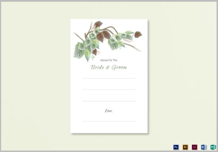 fall wedding advice card template