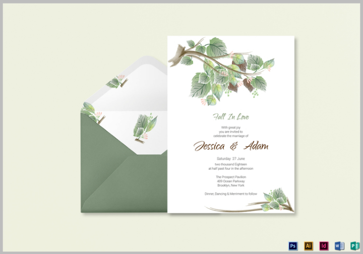 fall wedding invitation card template