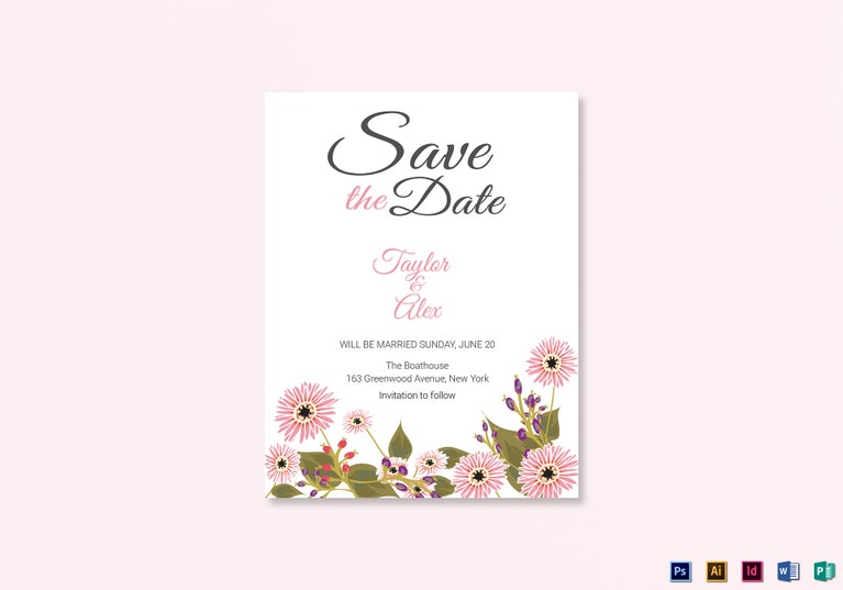 floral save the date card design template