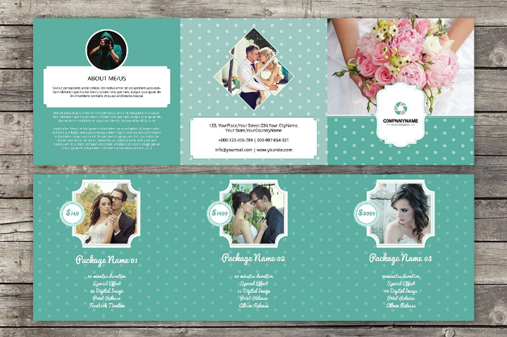 floral square wedding brochure template