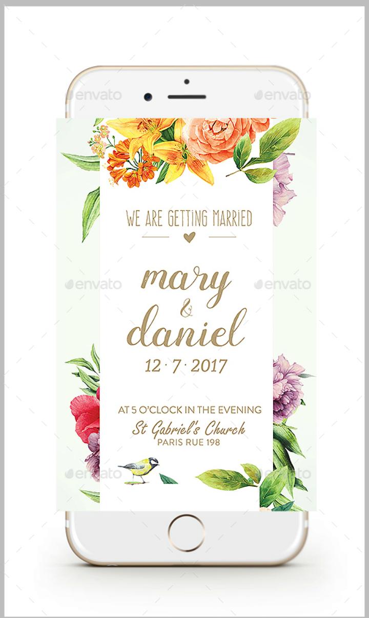 floral wedding invitation flyer template