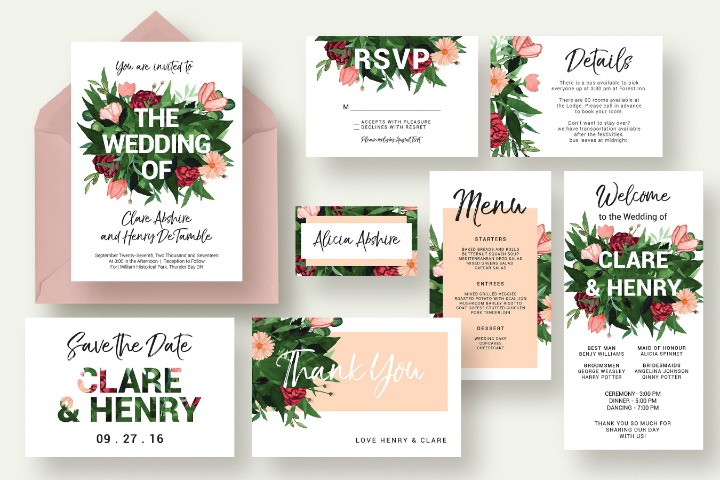 flower-burst-summer-wedding-template-set