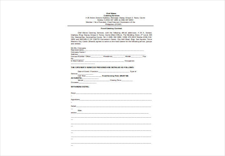 Food Catering Contract Template