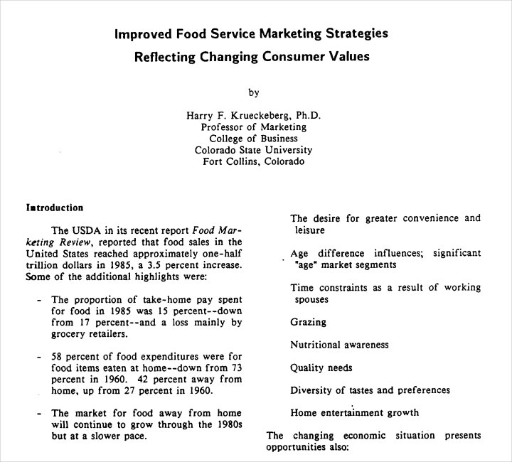 Food Service Marketing Strategy Proposal
