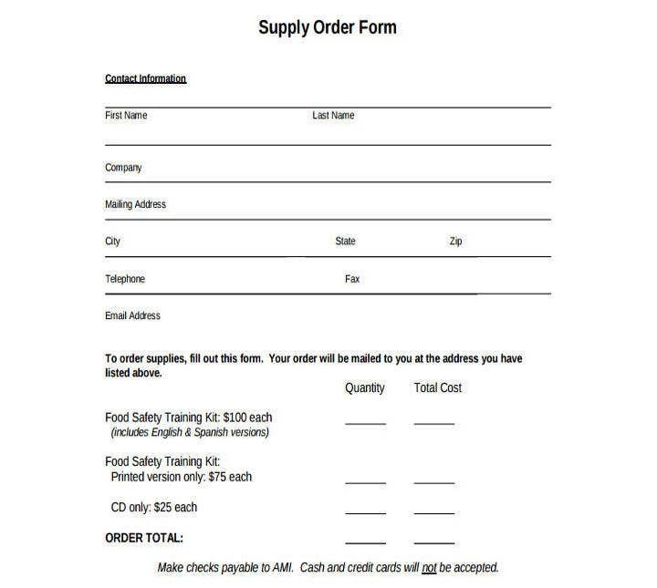 Food Service Supply Order