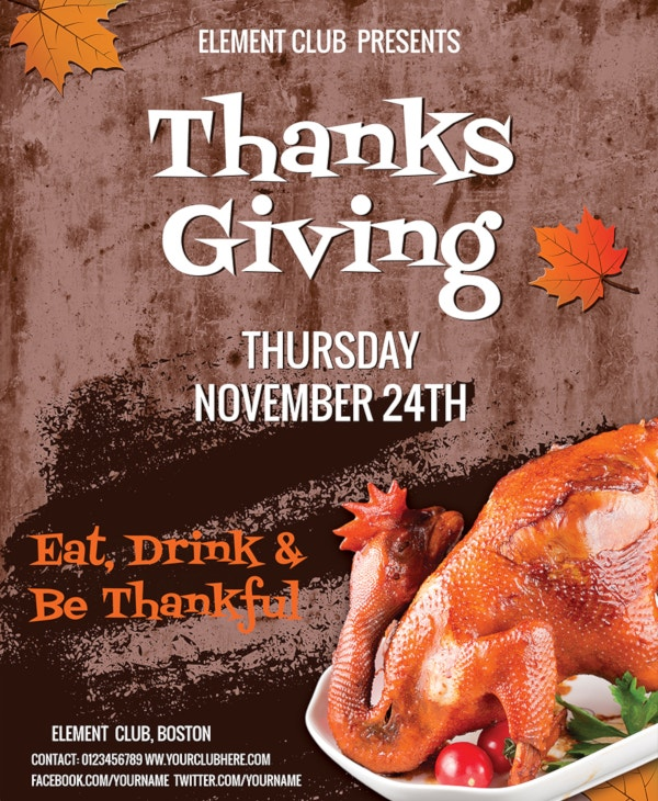 free attractive thanksgiving flyer template