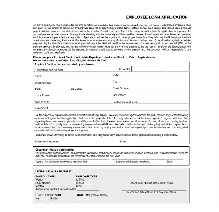 Free Employee Loan Application Form