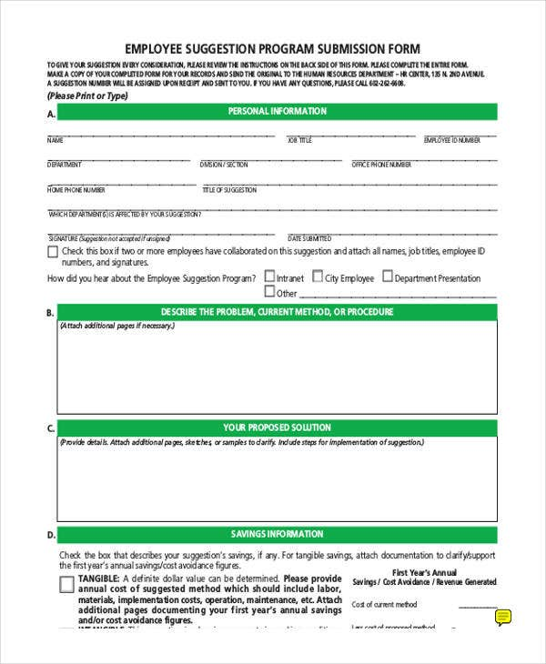 Free Employee Suggestion Form