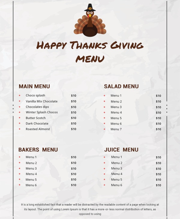 free thanksgiving menu template download