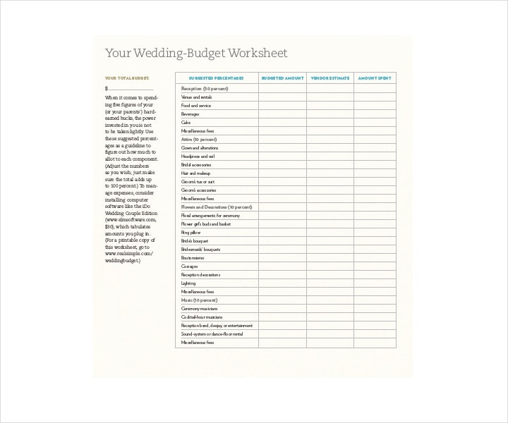 Wedding Budget Worksheet Printable: 14+ Wedding Budget Templates