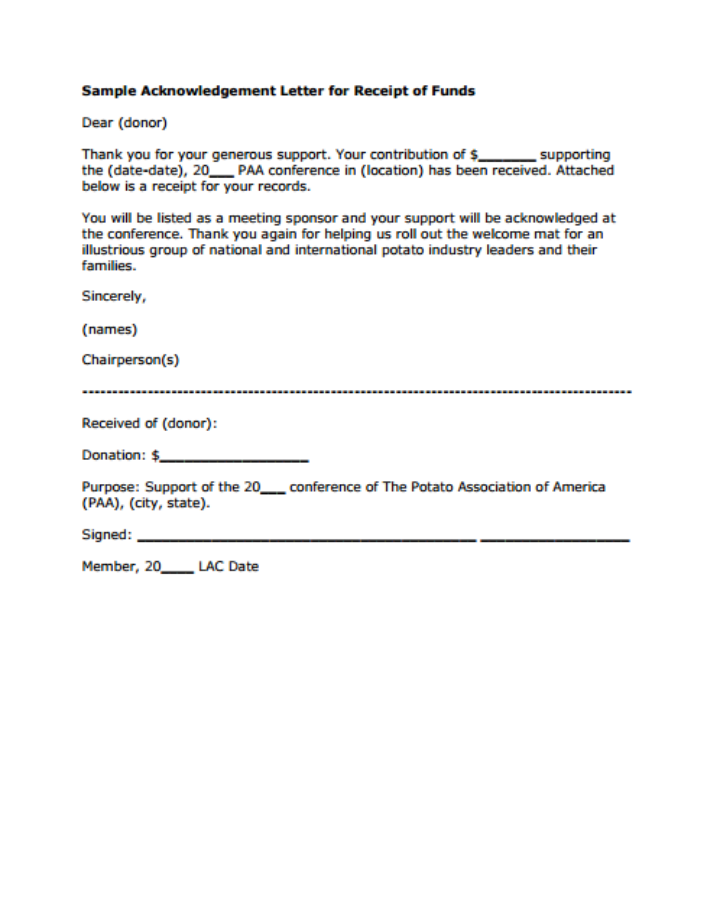 11 donor acknowledgement letter templates pdf doc for Receipt of funds template