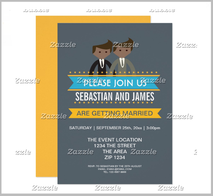 gay cartoon grooms wedding card