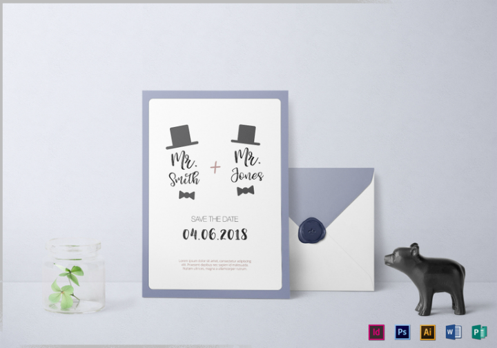 gay wedding invitation design template