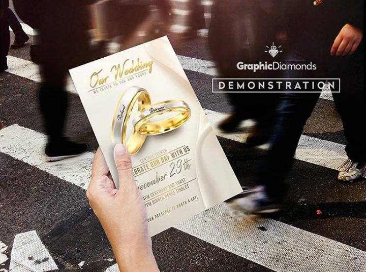 gold wedding flyer psd template