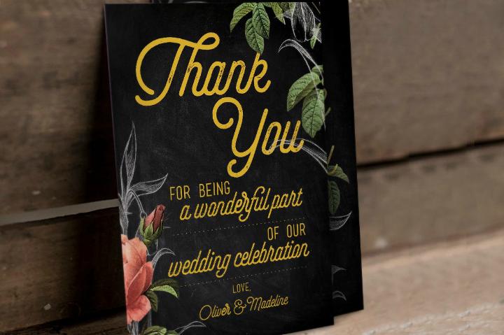 hand drawn floral wedding thank you card