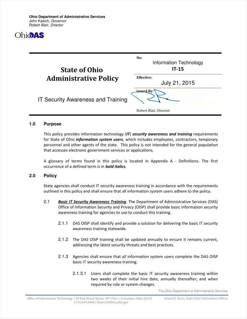 it security training policy template