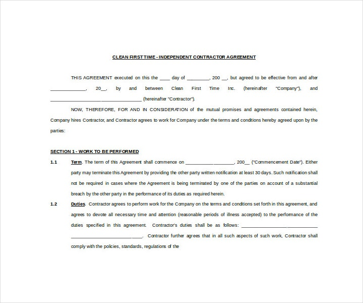 Independent Cleaning Contract Agreement