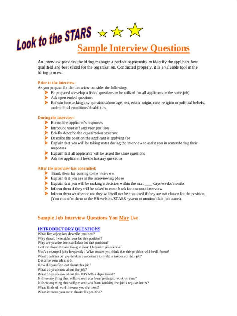 Interview Questionnaire in PDF