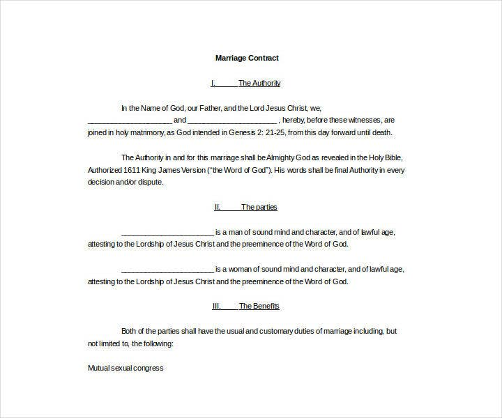 Legal Wedding Contract Template